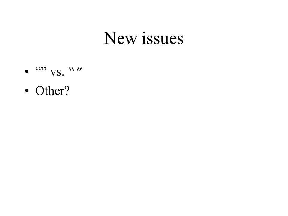 "New issues """" vs. """" Other?"