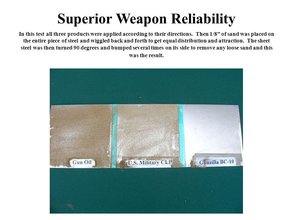 Superior Weapon Reliability In this test all three products were applied according to their directions.