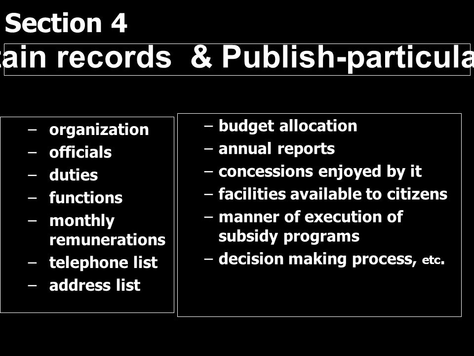 Section 4 –organization –officials –duties –functions –monthly remunerations –telephone list –address list –budget allocation –annual reports –concess