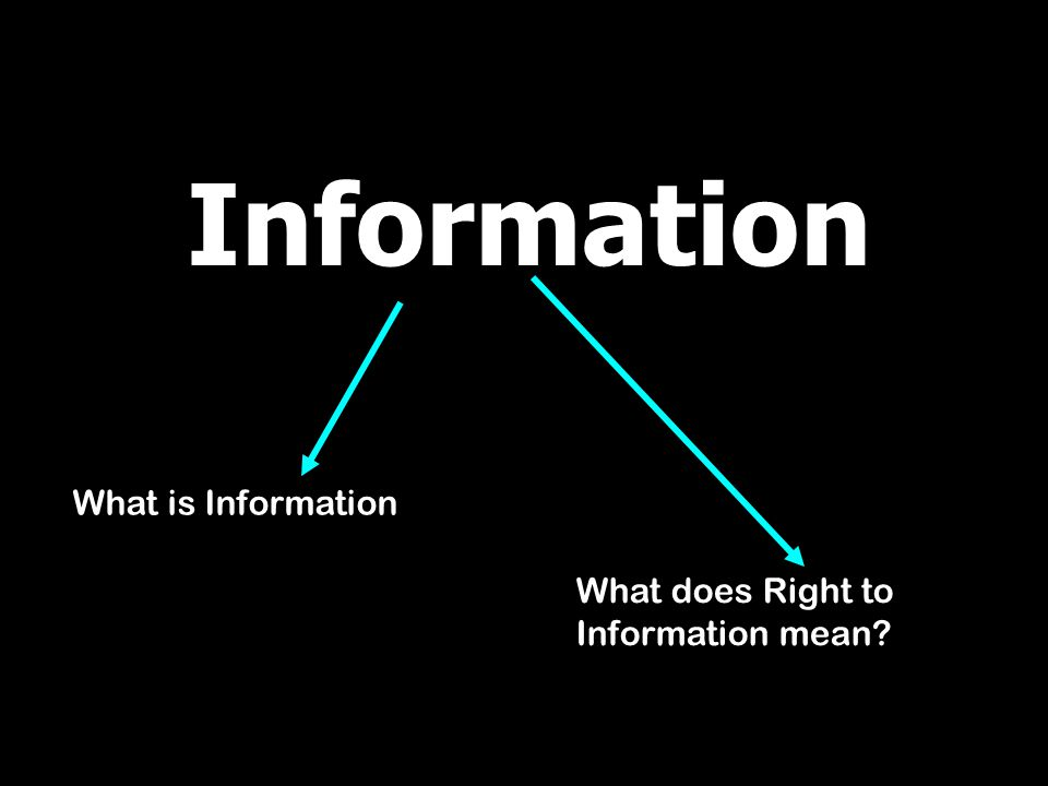 Information What is Information What does Right to Information mean?