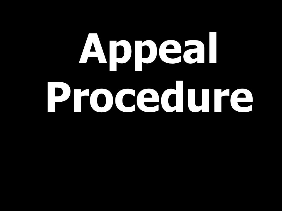 Appeal Procedure