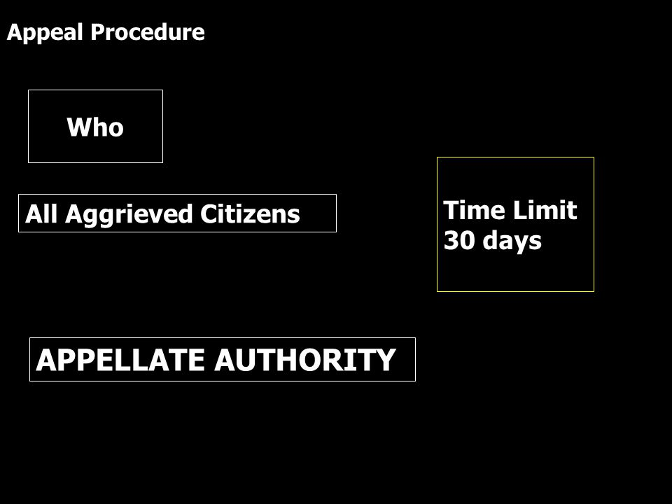 All Aggrieved Citizens Who APPELLATE AUTHORITY Time Limit 30 days