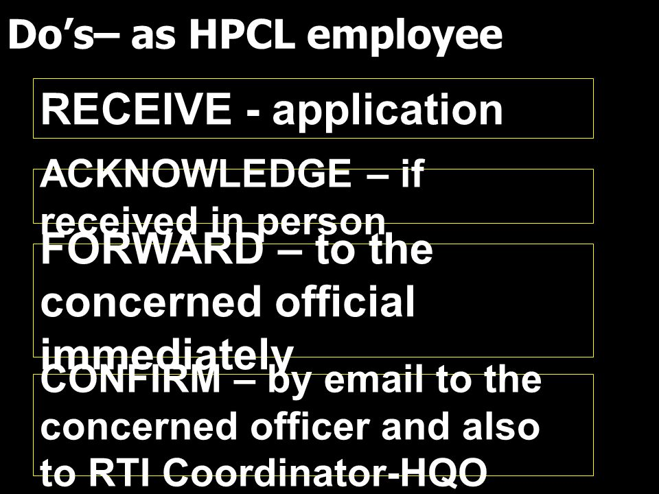 Do's– as HPCL employee ACKNOWLEDGE – if received in person FORWARD – to the concerned official immediately CONFIRM – by email to the concerned officer