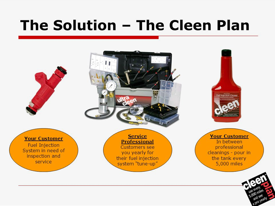 The Solution – The Cleen Plan Your Customer Fuel Injection System in need of inspection and service Service Professional Customers see you yearly for their fuel injection system tune-up Your Customer In between professional cleanings - pour in the tank every 5,000 miles