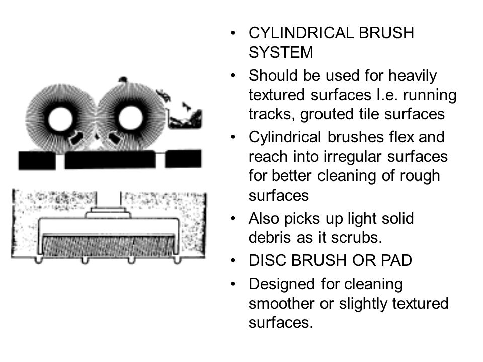 CYLINDRICAL BRUSH SYSTEM Should be used for heavily textured surfaces I.e.