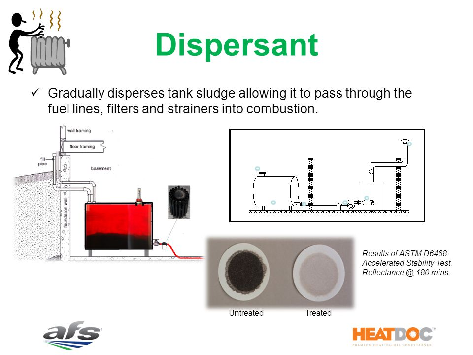 Dispersant Gradually disperses tank sludge allowing it to pass through the fuel lines, filters and strainers into combustion.