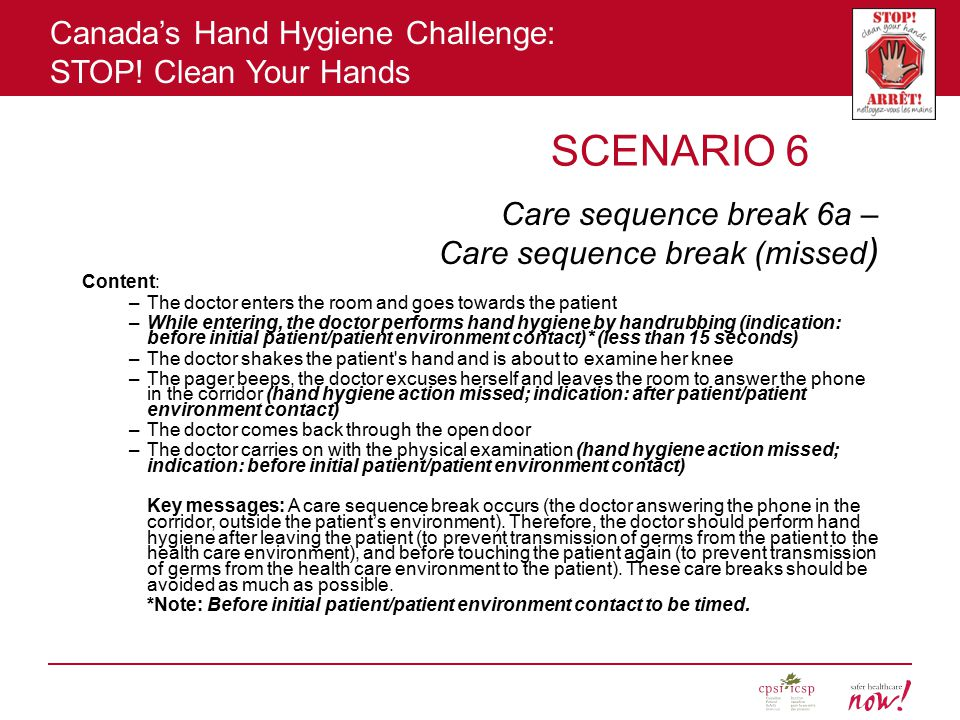 Canada's Hand Hygiene Challenge: STOP! Clean Your Hands SCENARIO 6 Care sequence break 6a – Care sequence break (missed ) Content: –The doctor enters