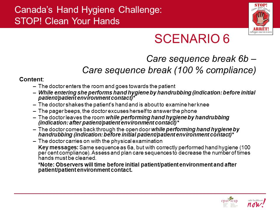 Canada's Hand Hygiene Challenge: STOP! Clean Your Hands SCENARIO 6 Care sequence break 6b – Care sequence break (100 % compliance) Content: –The docto