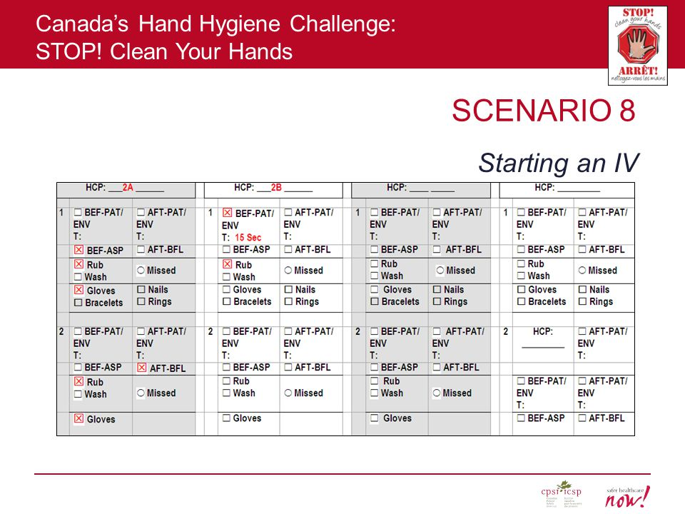 Canada's Hand Hygiene Challenge: STOP! Clean Your Hands SCENARIO 8 Starting an IV