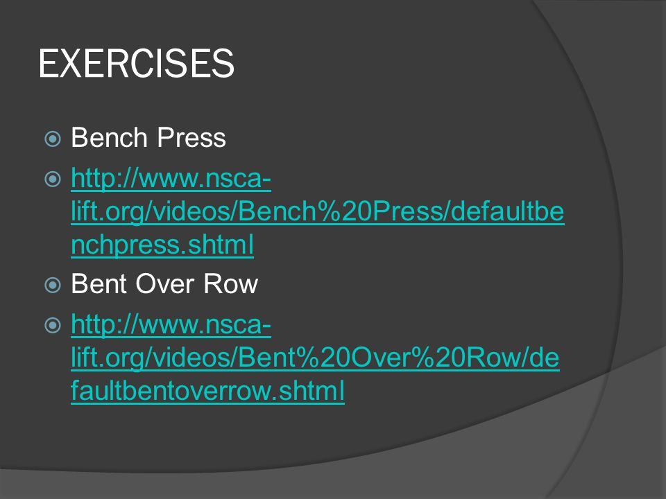 EXERCISES  Power Jerk  http://www.nsca- lift.org/videos/PowerJerk/defaultpowerjer k.shtml http://www.nsca- lift.org/videos/PowerJerk/defaultpowerjer k.shtml  Military Press  http://www.nsca- lift.org/videos/Standing%20Shoulder%2 0Press/defaultstandingshoulder.shtml http://www.nsca- lift.org/videos/Standing%20Shoulder%2 0Press/defaultstandingshoulder.shtml