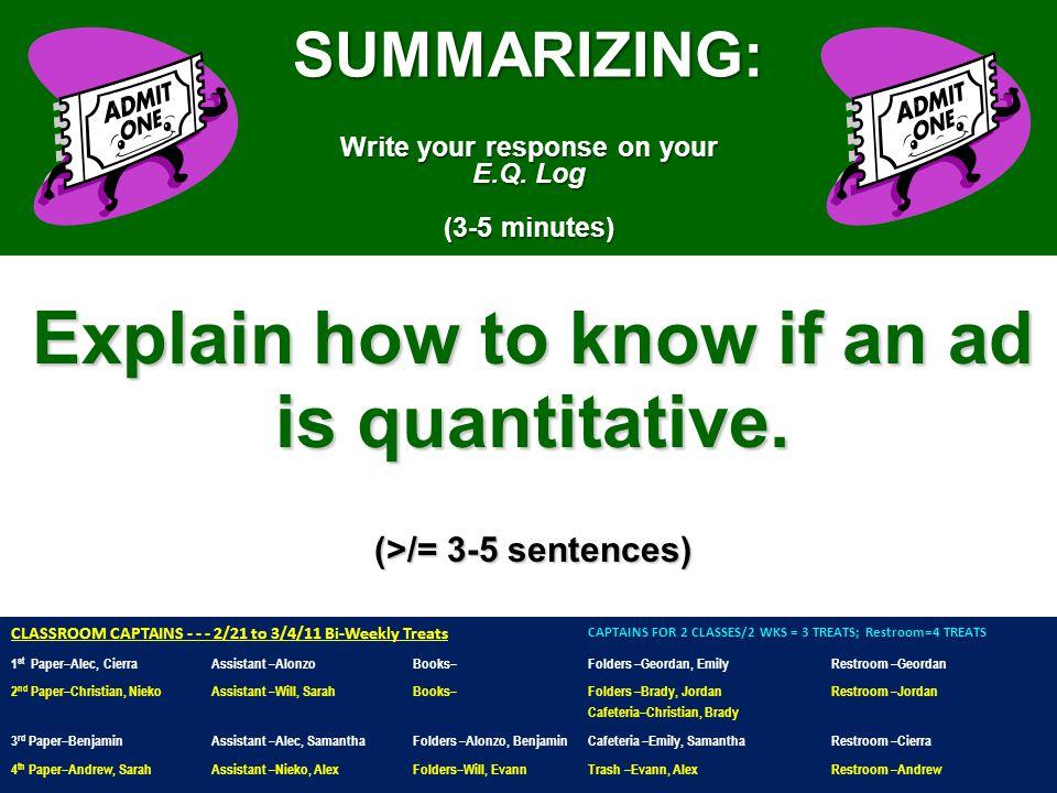 SUMMARIZING: Write your response on your E.Q.