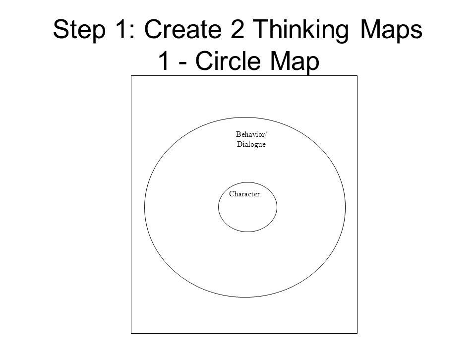 Step 1: Create 2 Thinking Maps 1 - Circle Map Character: Behavior/ Dialogue