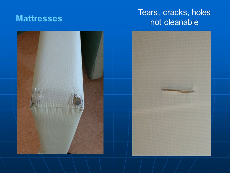 Mattresses Tears, cracks, holes not cleanable