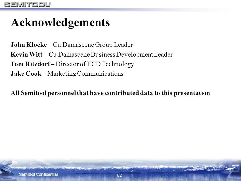 Semitool Confidential 62 Acknowledgements John Klocke – Cu Damascene Group Leader Kevin Witt – Cu Damascene Business Development Leader Tom Ritzdorf –