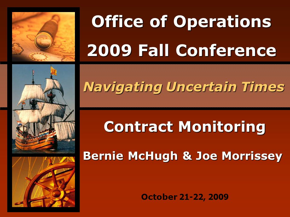 Office of Operations 2009 Fall Conference Why is Monitoring Necessary.