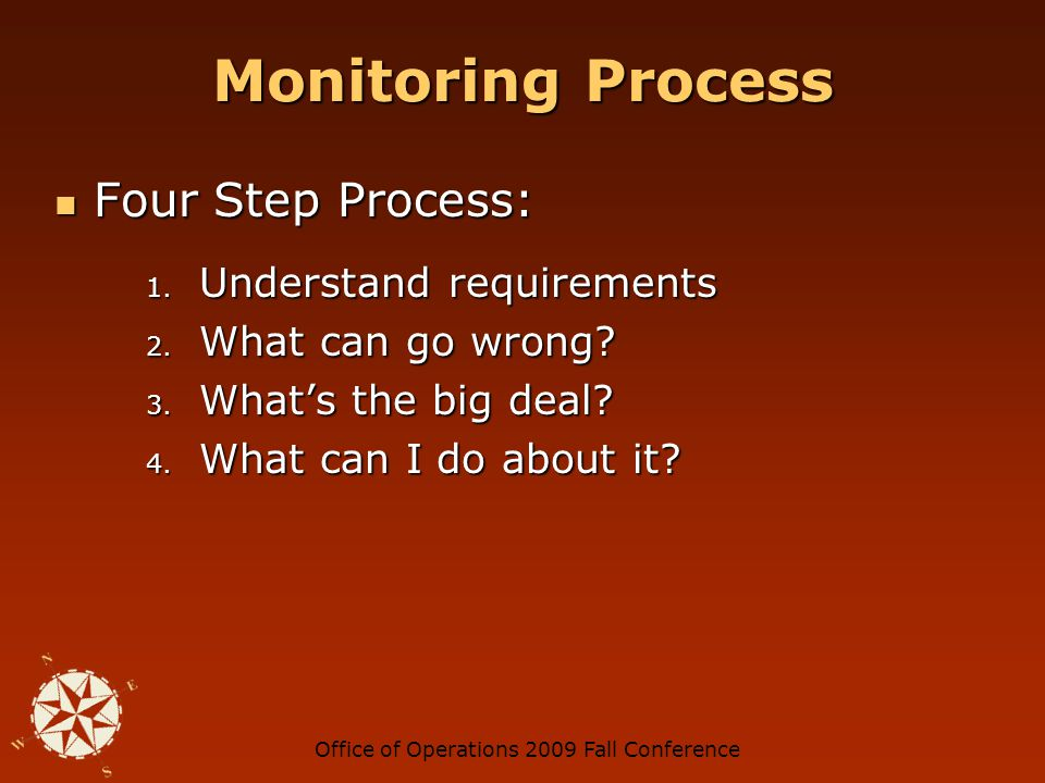 Office of Operations 2009 Fall Conference Step 1 - Understand Requirements Intuition Intuition Conversation Conversation Purchase order details Purchase order details Contract specifications Contract specifications Laws, rules & regulations Laws, rules & regulations Guidelines Guidelines