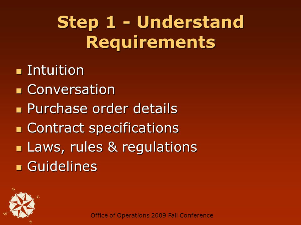Office of Operations 2009 Fall Conference Understand Requirements Ask this: Ask this: Would I know how to verify whether something has occurred based on how the contract specification is written.