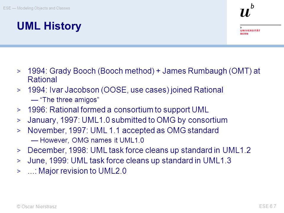 © Oscar Nierstrasz ESE — Modeling Objects and Classes ESE 6.7 UML History  1994: Grady Booch (Booch method) + James Rumbaugh (OMT) at Rational  1994: Ivar Jacobson (OOSE, use cases) joined Rational — The three amigos  1996: Rational formed a consortium to support UML  January, 1997: UML1.0 submitted to OMG by consortium  November, 1997: UML 1.1 accepted as OMG standard —However, OMG names it UML1.0  December, 1998: UML task force cleans up standard in UML1.2  June, 1999: UML task force cleans up standard in UML1.3 ...: Major revision to UML2.0