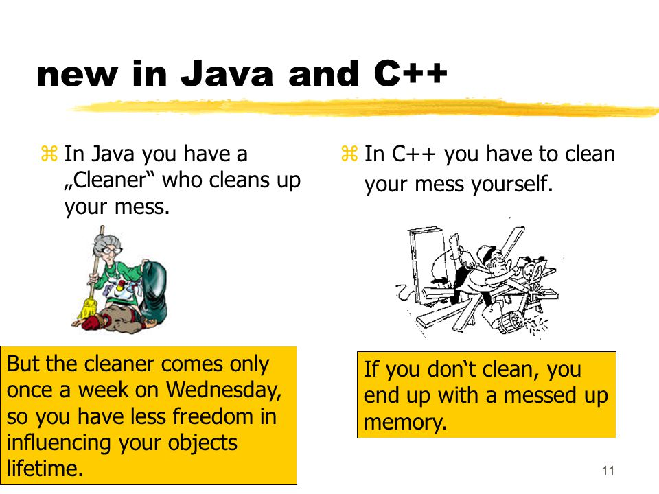 "11 new in Java and C++ zIn Java you have a ""Cleaner who cleans up your mess."