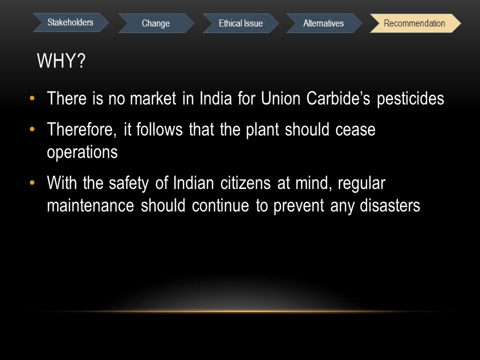 WHY? There is no market in India for Union Carbide's pesticides Therefore, it follows that the plant should cease operations With the safety of Indian