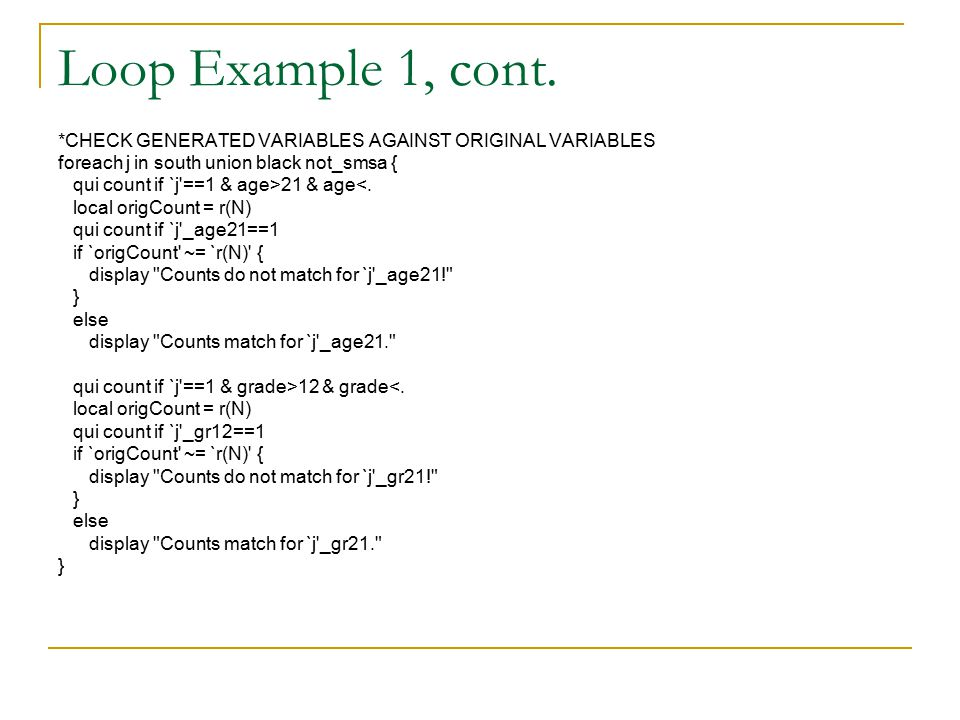 Loop Example 1, cont.