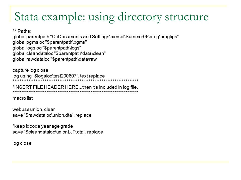 Project Clean-up Create a zip file that contains everything necessary for complete replication Use a readme.txt file to describe zip contents Delete/archive unused or old files Include any referenced files in zip When you have a final zip archive containing everything-  Open it in it's own directory and run the script  Check that all the results match