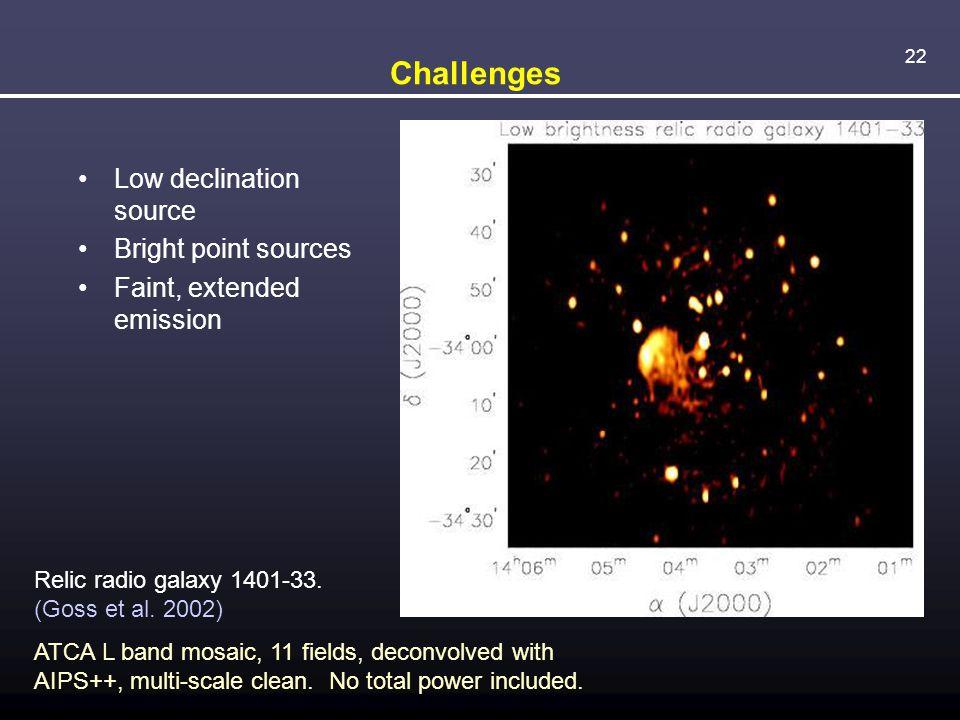 22 Challenges Low declination source Bright point sources Faint, extended emission Relic radio galaxy 1401-33. (Goss et al. 2002) ATCA L band mosaic,