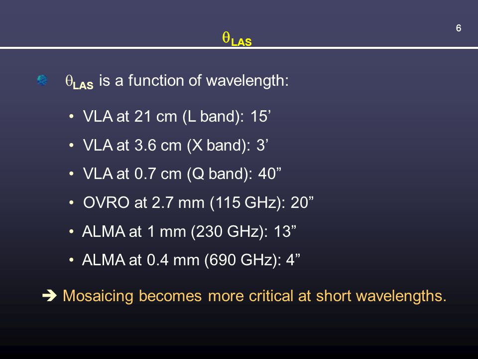 6  LAS  LAS is a function of wavelength: VLA at 21 cm (L band): 15' VLA at 3.6 cm (X band): 3' VLA at 0.7 cm (Q band): 40 OVRO at 2.7 mm (115 GHz): 20 ALMA at 1 mm (230 GHz): 13 ALMA at 0.4 mm (690 GHz): 4  Mosaicing becomes more critical at short wavelengths.