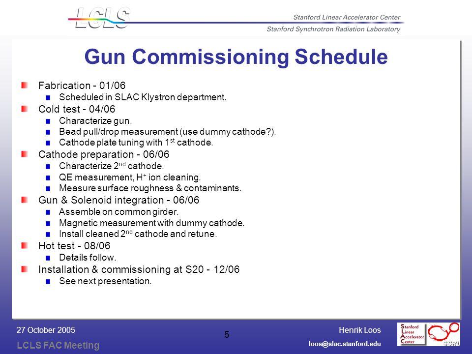 Henrik Loos LCLS FAC Meeting loos@slac.stanford.edu 27 October 2005 5 Gun Commissioning Schedule Fabrication - 01/06 Scheduled in SLAC Klystron department.