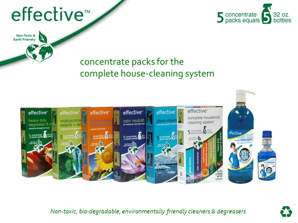 Non-toxic, bio-degradable, environmentally friendly cleaners & degreasers concentrate packs for the complete house-cleaning system
