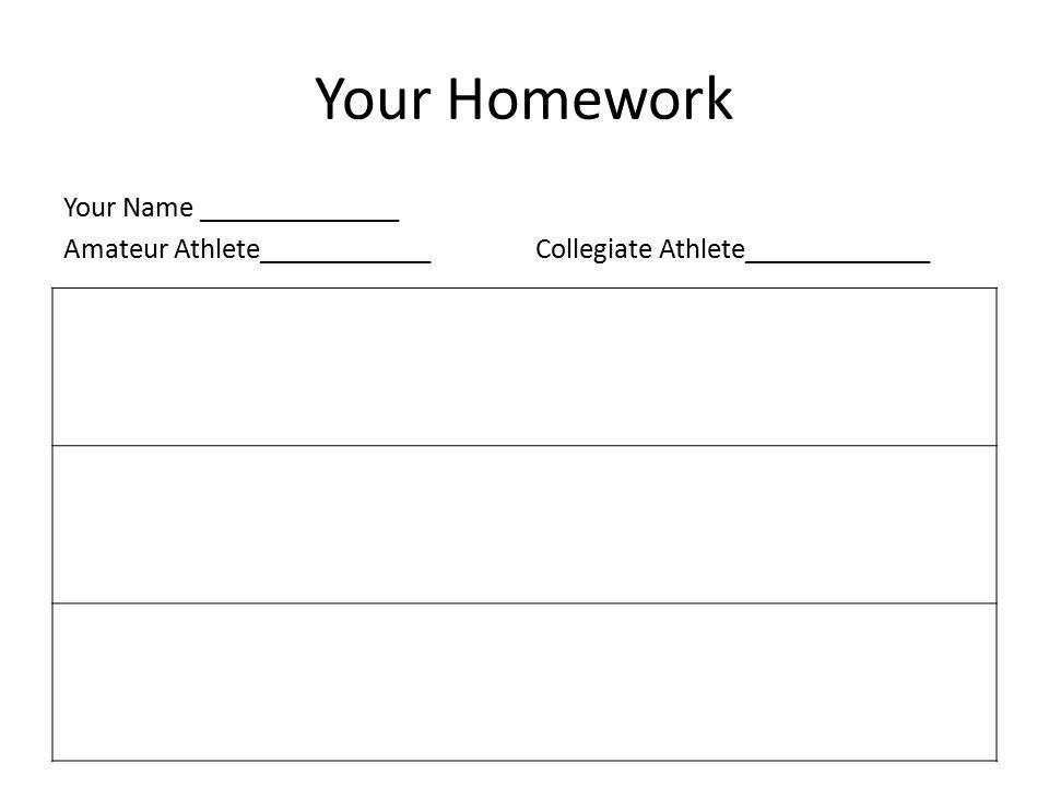 Your Homework Your Name ______________ Amateur Athlete____________Collegiate Athlete_____________