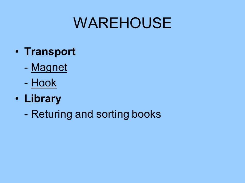 WAREHOUSE Transport - Magnet - Hook Library - Returing and sorting books