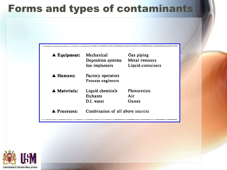 Forms and types of contaminants