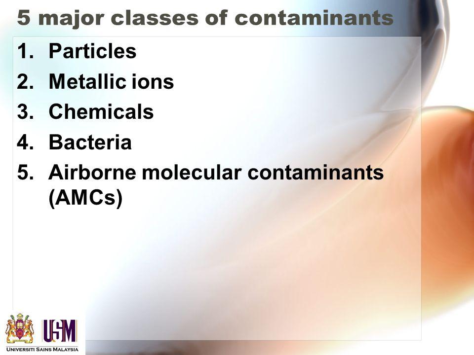 5 major classes of contaminants 1.Particles 2.Metallic ions 3.Chemicals 4.Bacteria 5.Airborne molecular contaminants (AMCs)