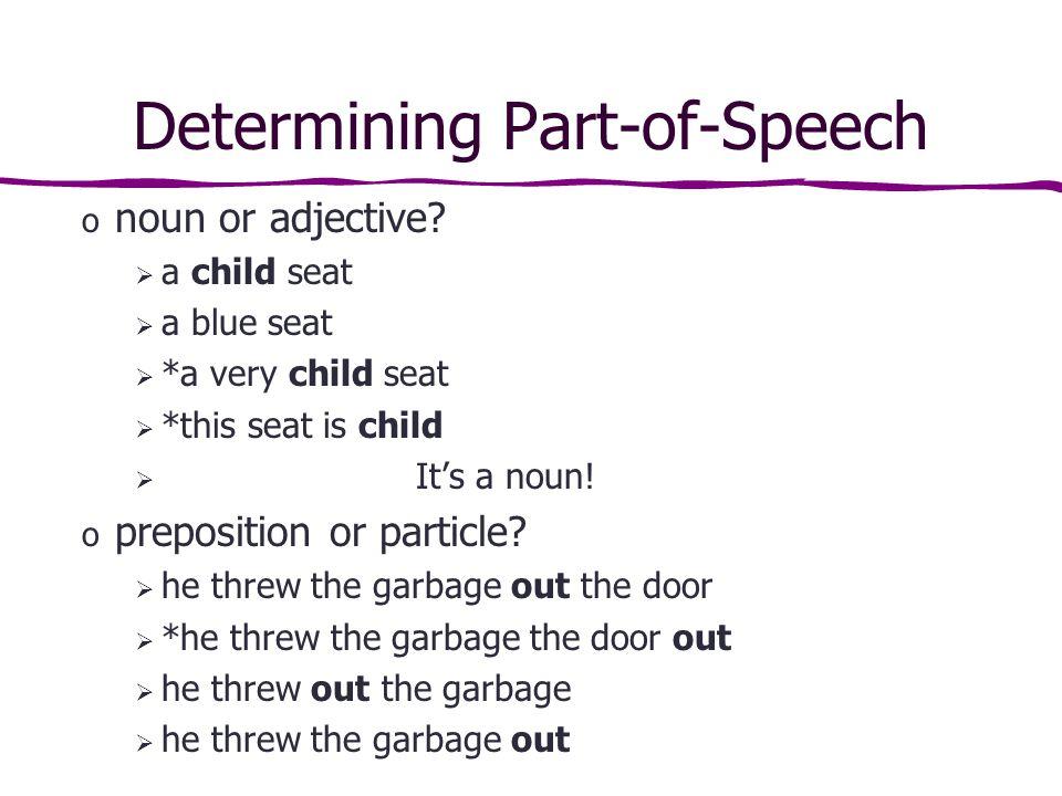 Determining Part-of-Speech o noun or adjective.