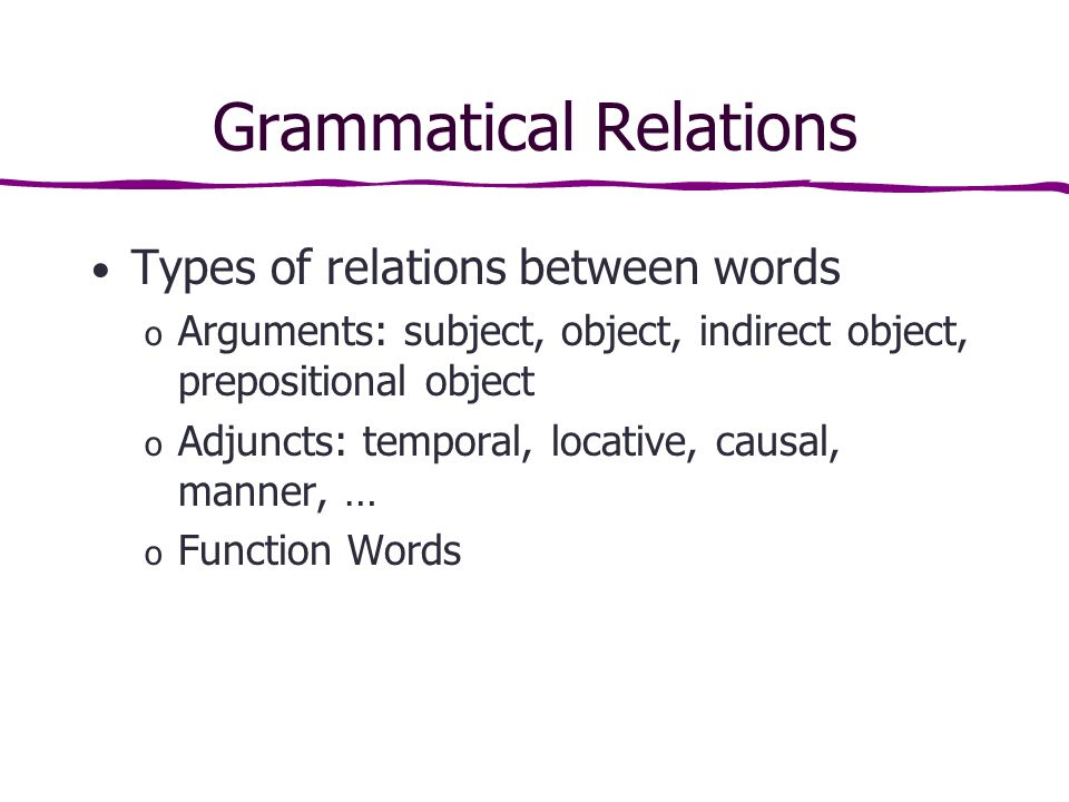 Grammatical Relations Types of relations between words o Arguments: subject, object, indirect object, prepositional object o Adjuncts: temporal, locative, causal, manner, … o Function Words
