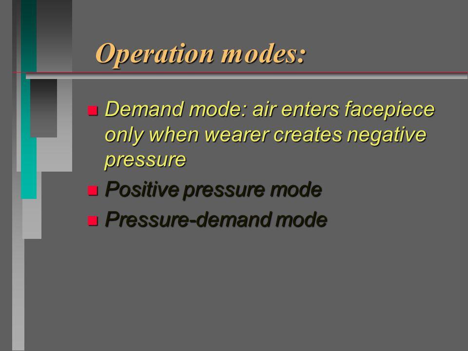 Operation modes: See tab3-3 n Demand mode n Positive pressure mode n Pressure-demand mode