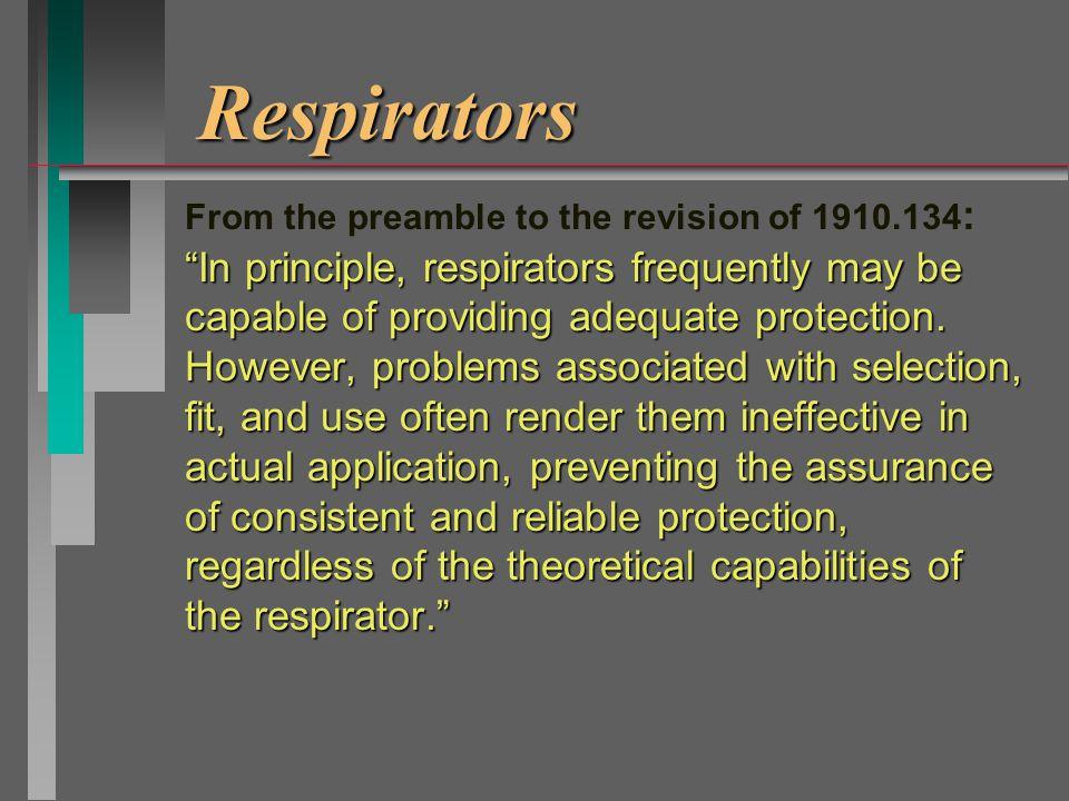 Respirator types