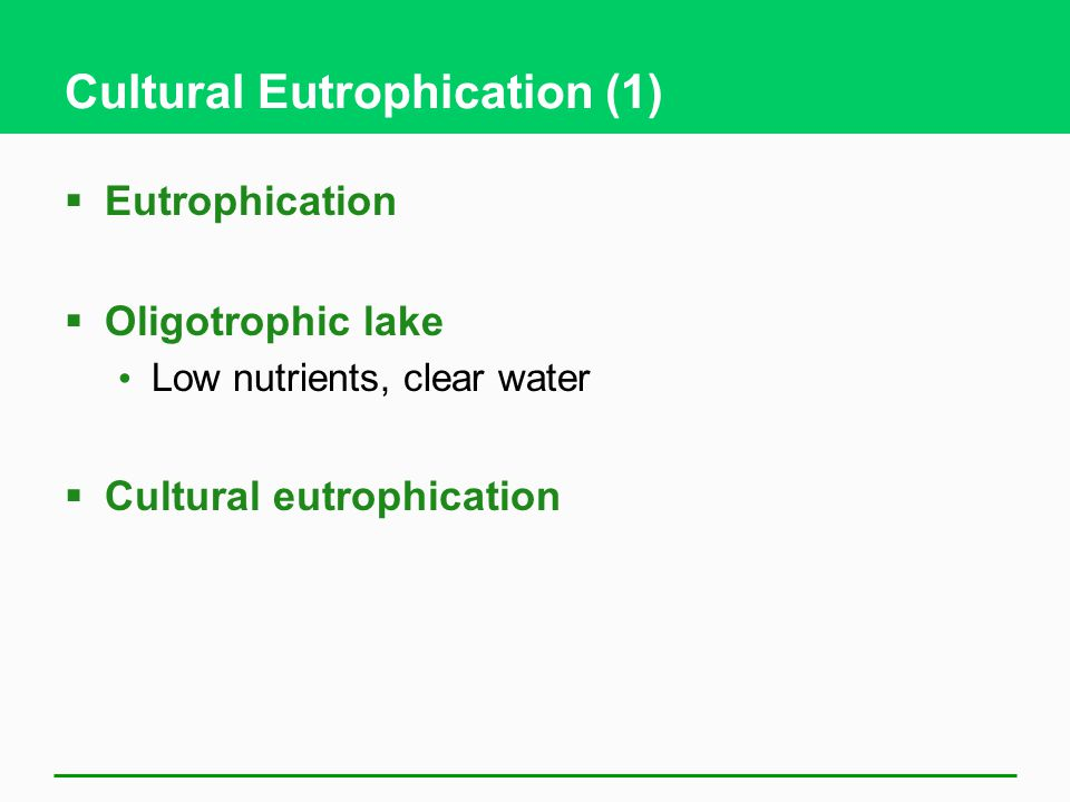Cultural Eutrophication (1)  Eutrophication  Oligotrophic lake Low nutrients, clear water  Cultural eutrophication