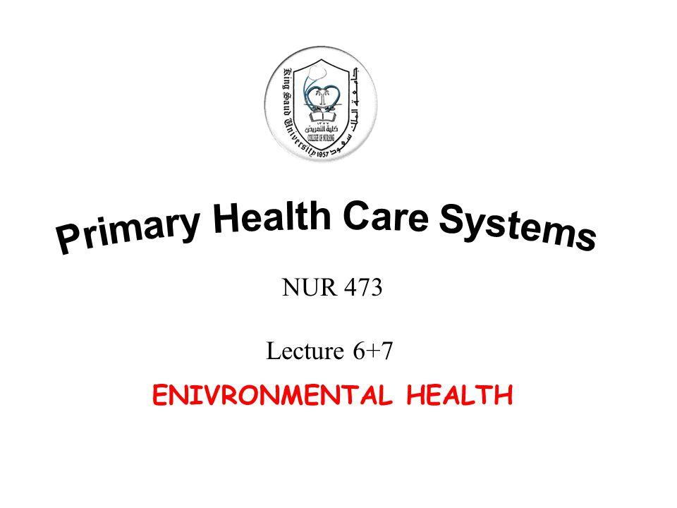 ENIVRONMENTAL HEALTH NUR 473 Lecture 6+7