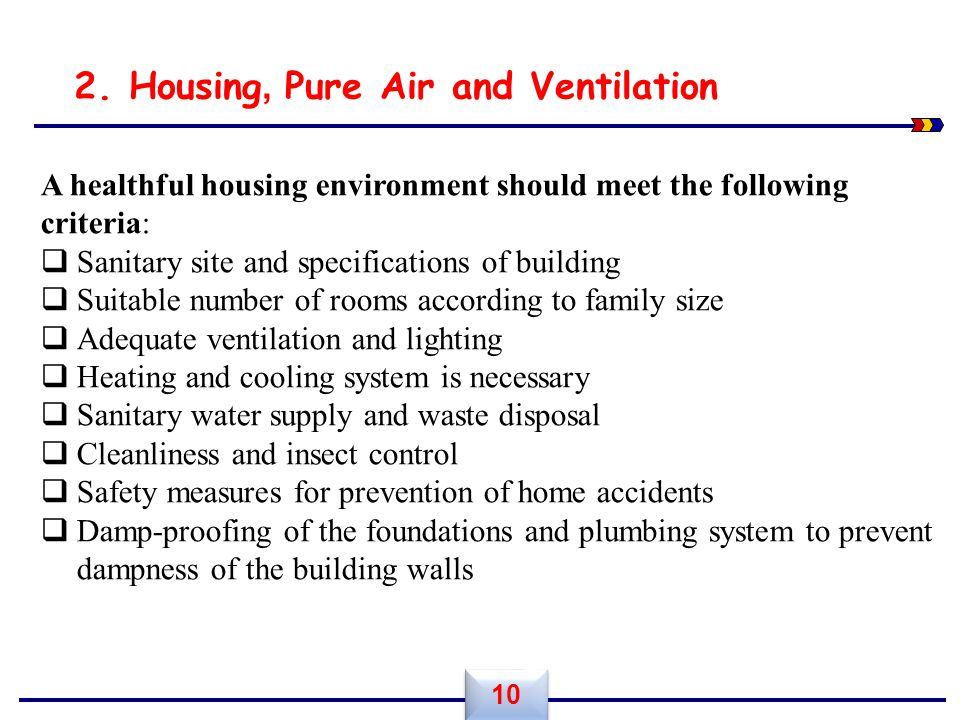 A healthful housing environment should meet the following criteria:  Sanitary site and specifications of building  Suitable number of rooms accordin