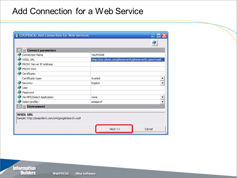 Add Connection for a Web Service