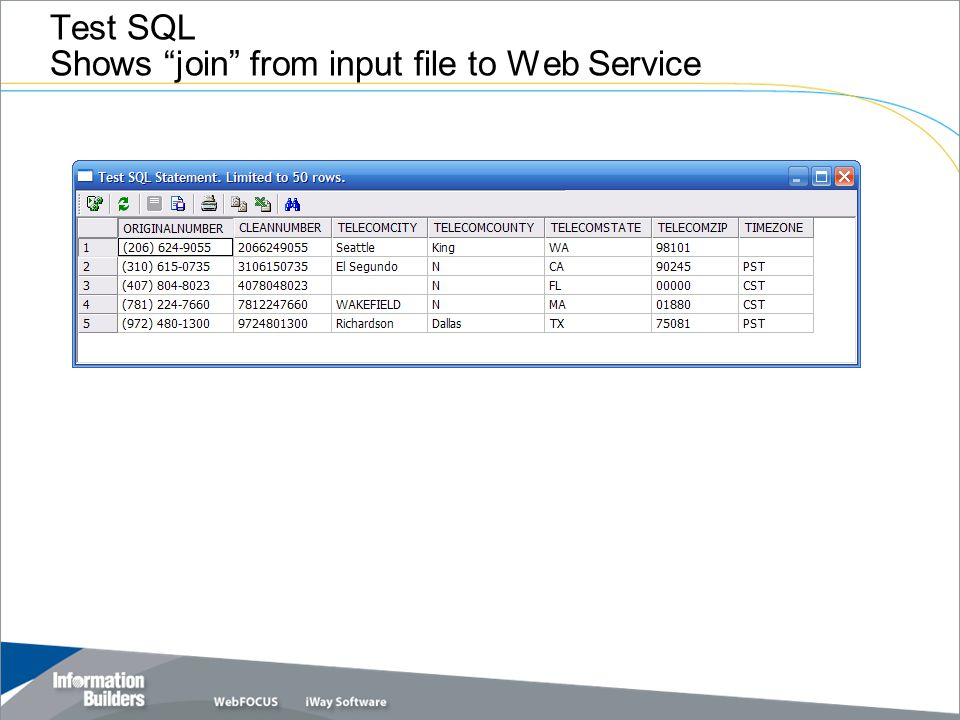 """Test SQL Shows """"join"""" from input file to Web Service"""