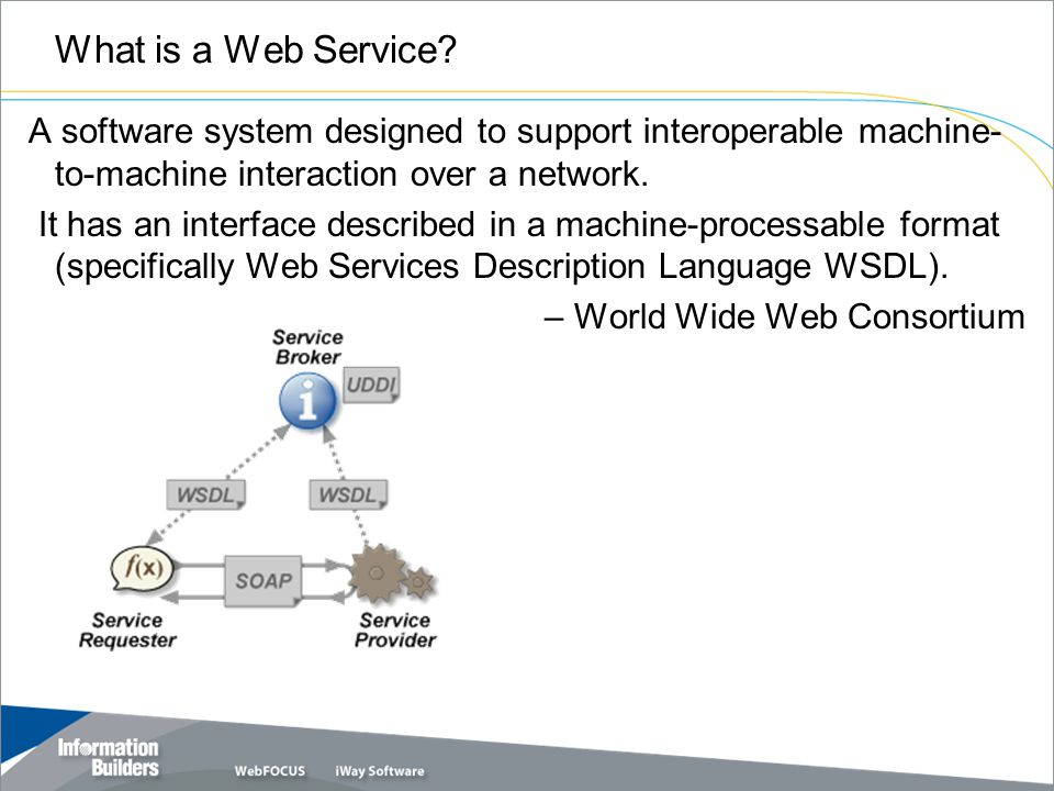 What is a Web Service? A software system designed to support interoperable machine- to-machine interaction over a network. It has an interface describ