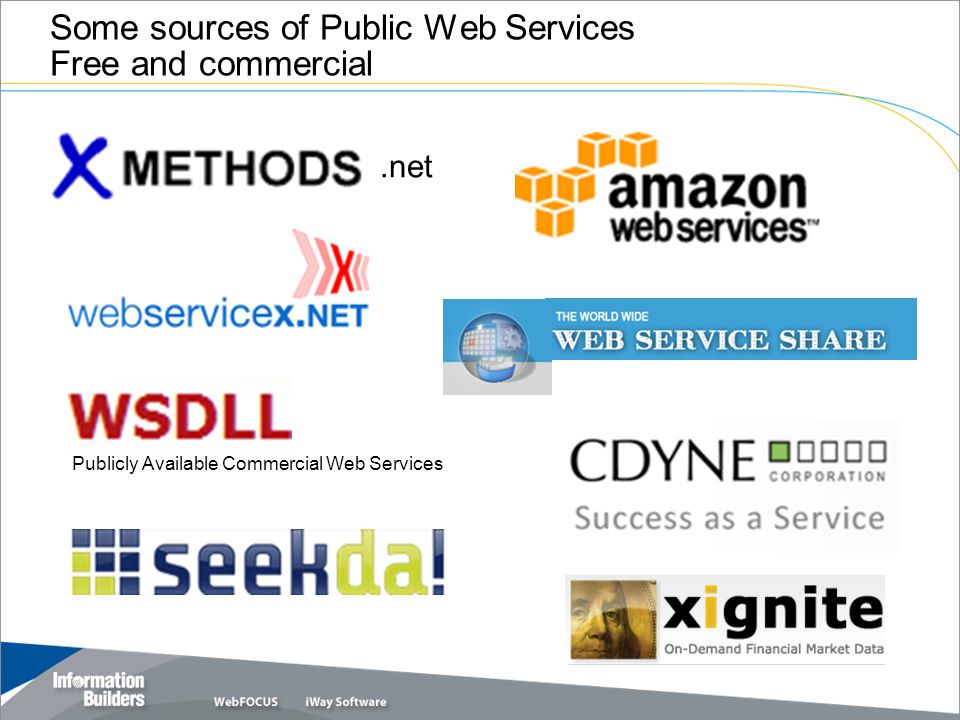 .net Publicly Available Commercial Web Services Some sources of Public Web Services Free and commercial
