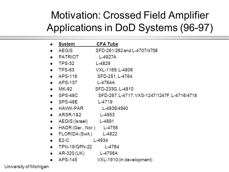 University of Michigan Motivation: Crossed Field Amplifier Applications in DoD Systems (96-97) System CFA Tube AEGIS SFD-261/262 and L-4707/4708 PATRIOT L-4927A TPS-32 L-4829 TPS-63 VXL-1169, L-4806 APS-116 SFD-251, L-4764 APS-137 L-4764A MK-92 SFD-233G, L-4810 SPS-48C SFD-267, L-4717, VXS-1247/1247F, L-4716/4718 SPS-48E L-4719 HAWK-PAR L-4939/4940 ARSR-1&2 L-4953 AEGIS (Israel) L-4891 HADR (Ger., Nor.) L-4756 FLORIDA (Swit.) L-4822 E2-C L-4934 TPN-19/GPN-22 L-4764 AR-320 (UK) L-4756A APS-145 VXL-1910 (in development)