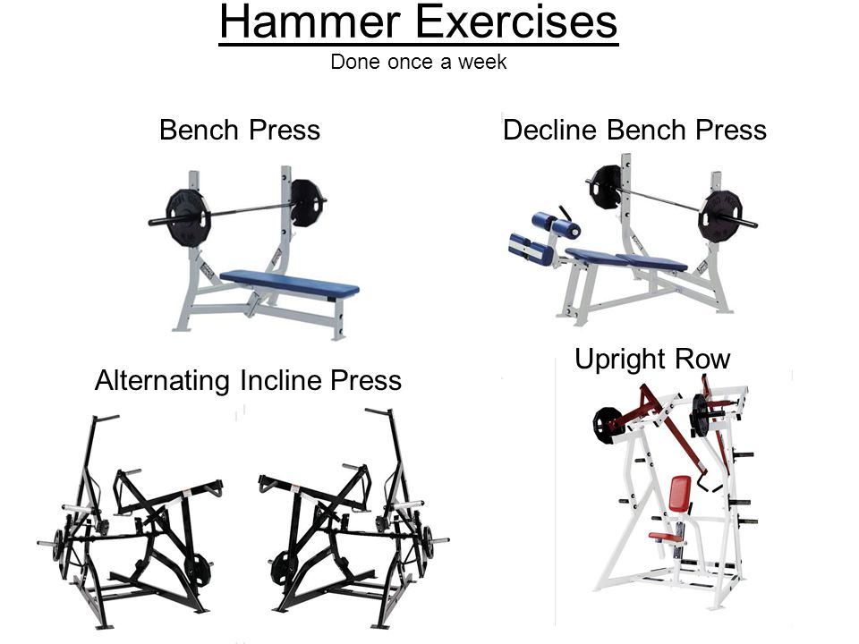 Free Motion Exercises Done Once a Week Standing Chest PressStanding RowStanding Incline PressRear Deltoid Shoulder PressLat Pull-downTricep PressBicep Press