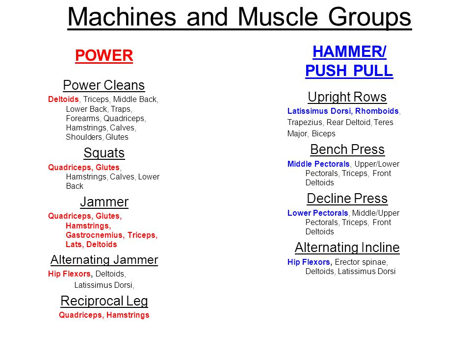 Machines and Muscle Groups Standing Chest Press Pectorals, Deltoids, Biceps, Abdominals Standing Row Latissimus Dorsi, Rhomboids, Trapezius, Rear Deltoid, Teres Major, Biceps, Abdominals Incline Press Pectorals, Deltoids, Triceps, Abdominals Standing Rear Deltoid Rear Deltoids, Trapezius, Latissimus Dorsi, Abdominals FREE MOTION/ Metabolic Ground Based Circuit Standing Military/ Shoulder Press Deltoids, Latissimus Dorsi, Trapezius, Abdominals, Erector Spinae Seated Lat Pull down Latissimus Dorsi, Rhomboids, Biceps Standing Tricep Press Triceps, Anterior Deltoids, Pectoralis Major, Abdominals Standing Bicep Curl Biceps, Abdominals