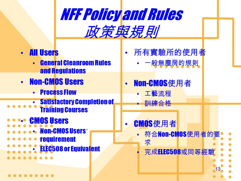 12 Contamination Control 污染管制 NFF Policy and Rules Process Verification Scheme Processing Requirements of individual modules Your awareness and observance NFF Policy and Rules Process Verification Scheme Processing Requirements of individual modules Your awareness and observance 政策與規則 工藝驗証指引 個別模組要求的工藝 規格 你對污染的關注與規 則的尊從 政策與規則 工藝驗証指引 個別模組要求的工藝 規格 你對污染的關注與規 則的尊從