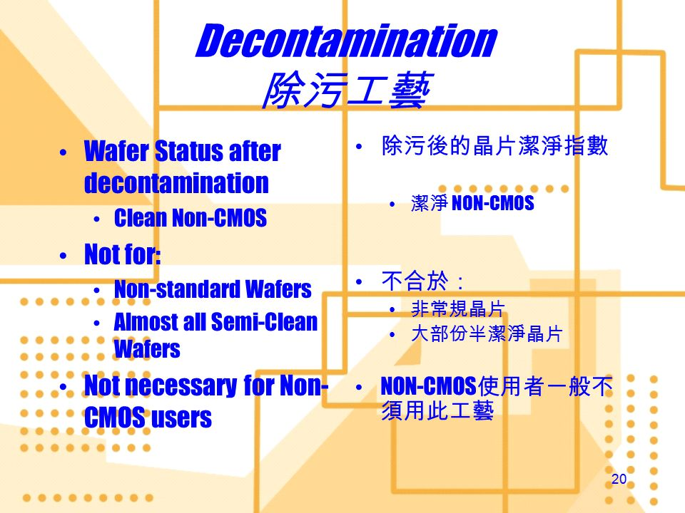 19 Downward Compatible CMOS -> Non-CMOS Clean -> Semi-clean or Non-standard Semi-clean -> Non- standard But not the Reverse Non-standard -> Semi- clean -> Clean Once contaminated always contaminated Exceptions: Decontaminated MILC Wafers Decontaminated wafers after Post CMP Grinding Cleaning Downward Compatible CMOS -> Non-CMOS Clean -> Semi-clean or Non-standard Semi-clean -> Non- standard But not the Reverse Non-standard -> Semi- clean -> Clean Once contaminated always contaminated Exceptions: Decontaminated MILC Wafers Decontaminated wafers after Post CMP Grinding Cleaning 向下兼容 CMOS -> Non-CMOS 潔淨 -> 半潔淨或非常規 半潔淨 -> 非常規 不准掉頭 非常規 -> 半潔淨 -> 潔淨 一被污染,永遠污染 例外情況: 經過除污的金屬誘導橫 向晶體化的晶片 經過除污的化學機械拋 光晶片 向下兼容 CMOS -> Non-CMOS 潔淨 -> 半潔淨或非常規 半潔淨 -> 非常規 不准掉頭 非常規 -> 半潔淨 -> 潔淨 一被污染,永遠污染 例外情況: 經過除污的金屬誘導橫 向晶體化的晶片 經過除污的化學機械拋 光晶片 Mechanism of PV Scheme 工藝驗証指引的機制
